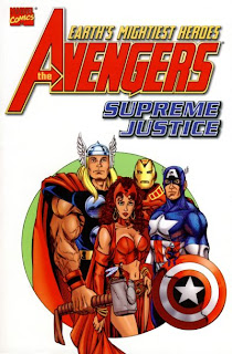 Review Avengers Supreme Justice Kurt Busiek Len Kaminski Mark Waid John Ostrander Joe Edkin George Pérez George Perez Sean Chen Andy Kubert Derec Aucoin Carlos Pacheco Squadron Supreme Iron Man Captain America Quicksilver Thor Scarlet Witch Live Kree or Die Marvel Cover trade paperback tpb comic book
