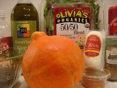 ingredients for spiced pumpkin, lentil, and goat cheese salad