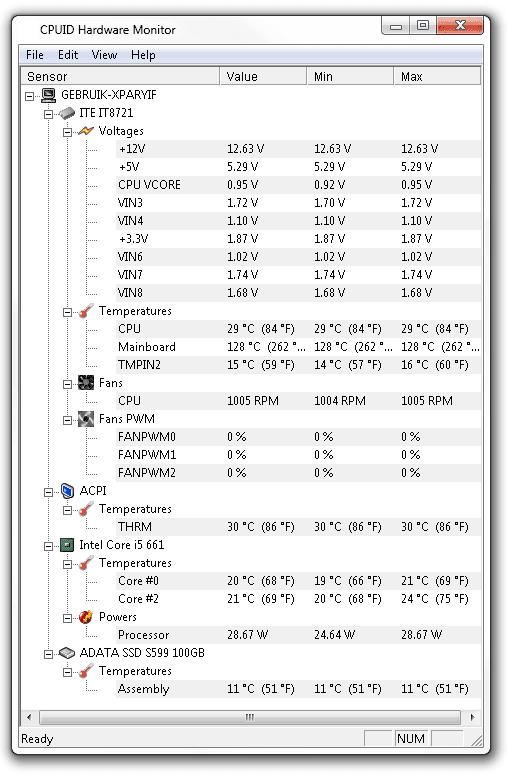 HWMonitor 1 16 tool with Intel QST - GURU Of High-Tech