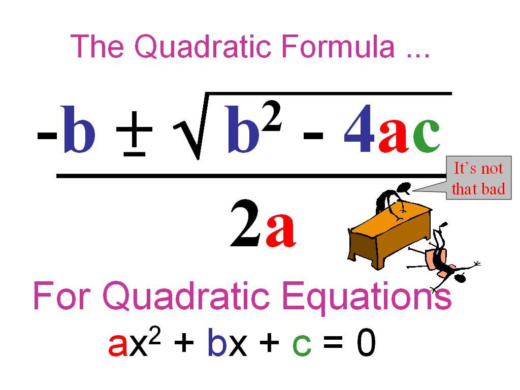 Ms Mccullough S Math Class The Quadratic Formula
