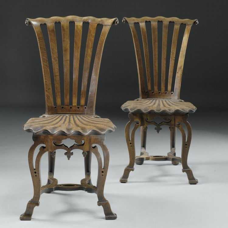 Superbe A Pair Of George Mahogany Hall Chairs, (Sothebyu0027s, NYC   April 5, 2006).
