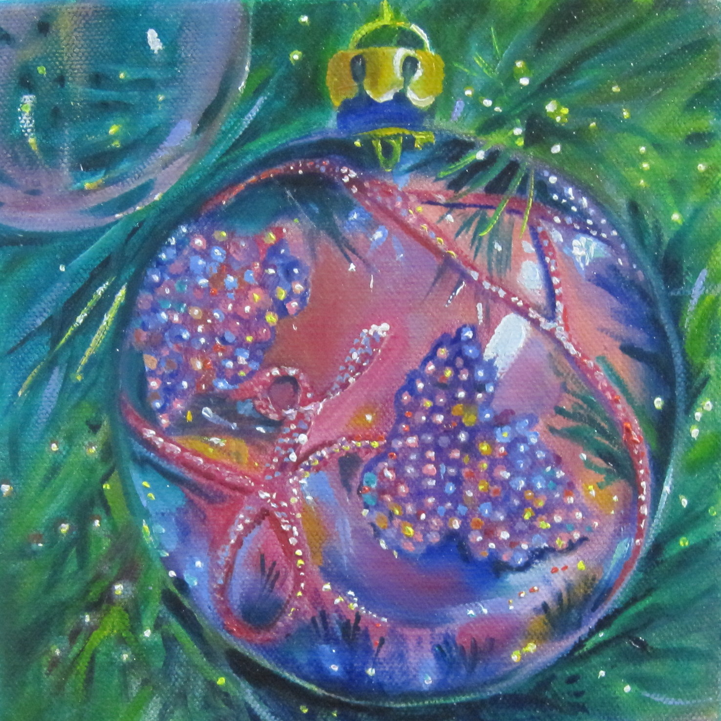 Linda McCoy: Beaded Glass Ornament, Oil Painting by Linda ...