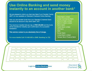 Online Inter Bank Funds Transfer Facility by SCB ~ Advertising Today