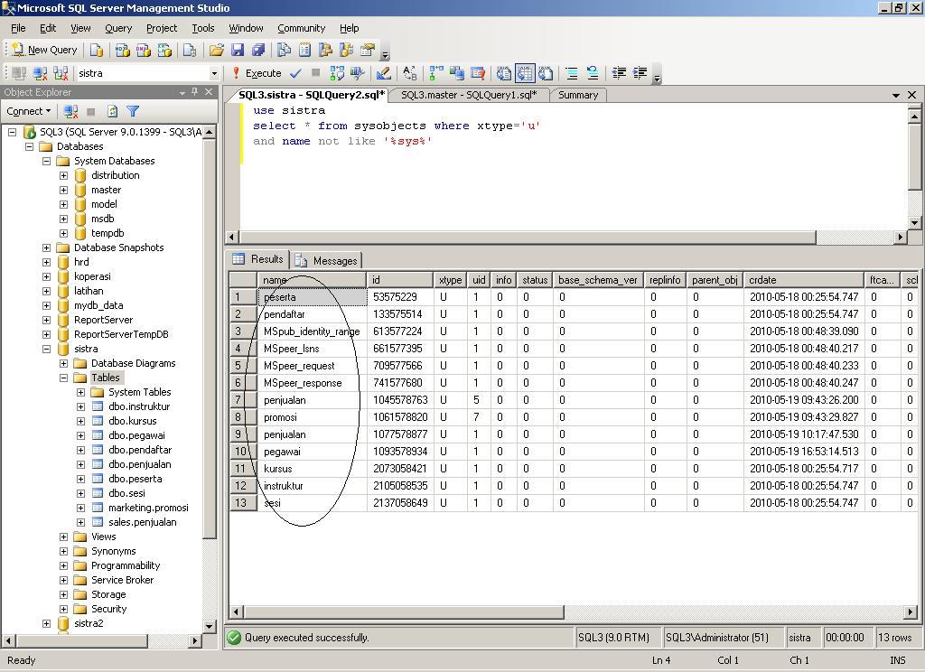 Inixindo Surabaya Trigger Cegah Drop Table Di Sql Server 2005