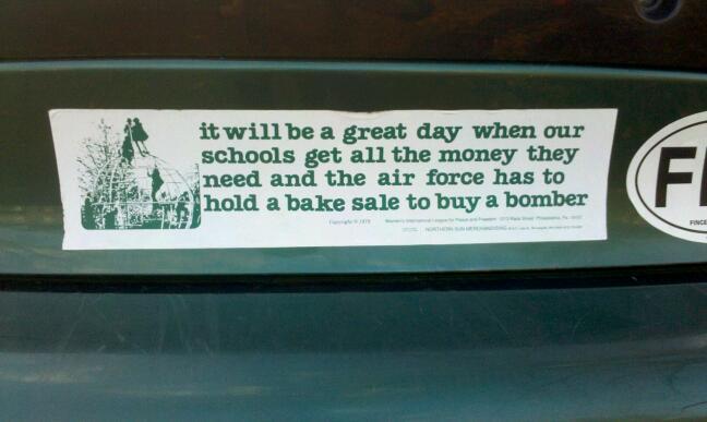 Bumper sticker bake sale