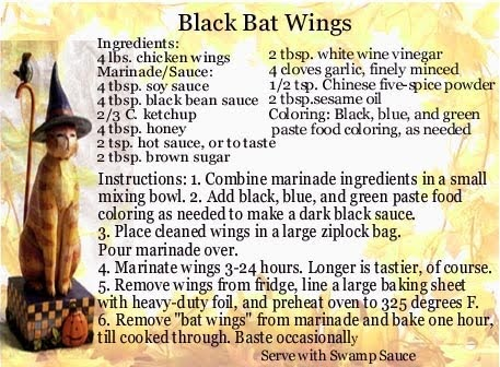 THETINCAT: Black Bat Wings Halloween Recipe On Printable Card