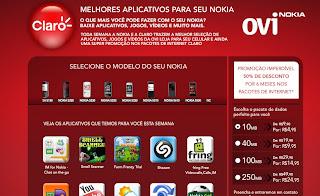 pioresaplicativos Claro e Nokia e lançam micro-site da OVI Store