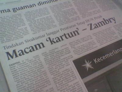 liputan akhbar tentang MB kudeta di Taiping kelmarin. Siapa yang kartun ?