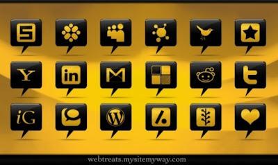 96  608x608 01 black comment bubble social media icons webtreats previews 75 Beautiful Free Social Bookmarking Icon Sets