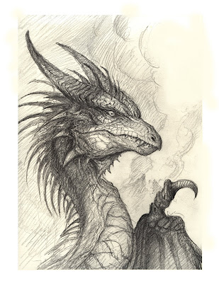 Heres a cool pencil sketch i did of a dragon in preparation for a demo section on my dragons domain book that will take people step by step into the