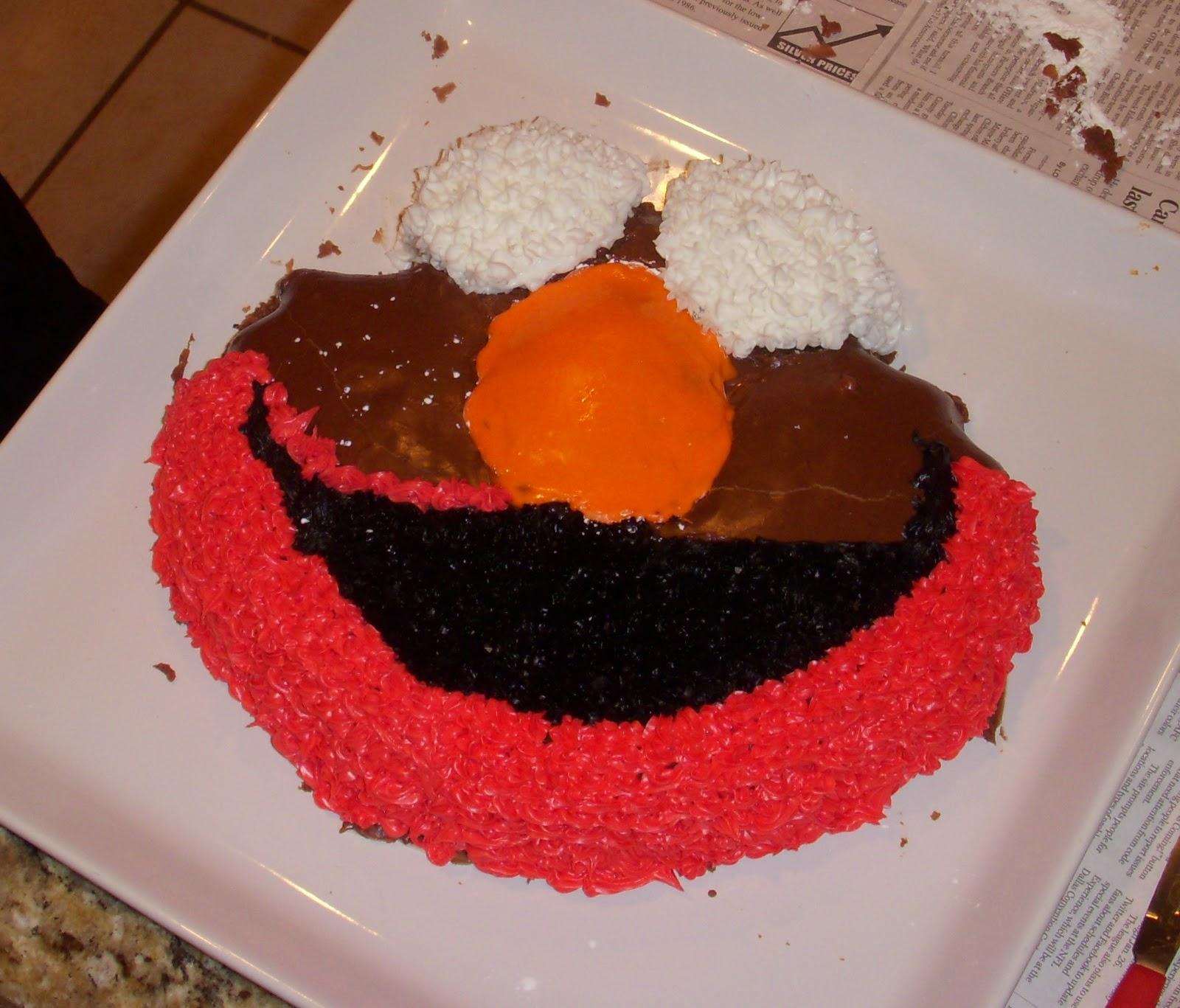 Elmo Cake Using Mrs Kelm S Chocolate Cake Recipe