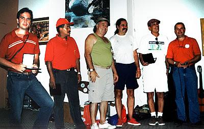 Jean Tosetto, Toninho, Marcão, Romeu Nardini, João Saboia e Walter Arruda durante almoço do clube em Campos do Jordão, abril de 2003 - foto de Rene Sarli.