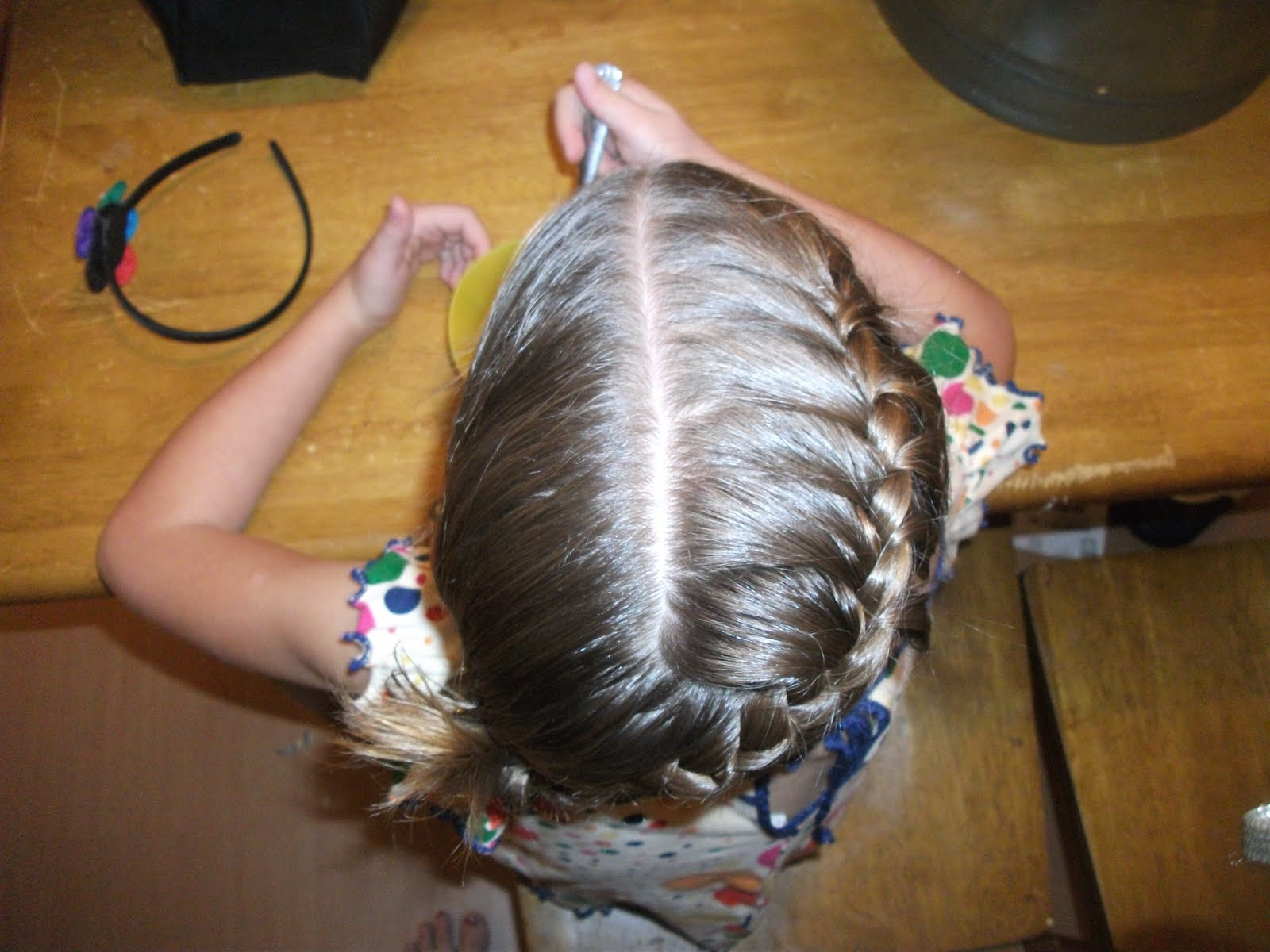 Goldielocks & Her 2 Girls: Right french braid into left side