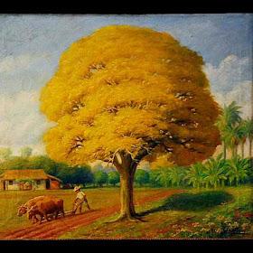 ARTES VISUALES EN EL PARAGUAY - ÓLEOS, ESCULTURAS, INSTALACIONES,  FOTOGRAFÍA, AUDIOVISUALES: PABLO ALBORNO - Obras: CABEZA DE VIEJO y LAPACHO  AMARILLO (Óleos) / Propiedad del Museo Nacional de Bellas Artes (MNBA)