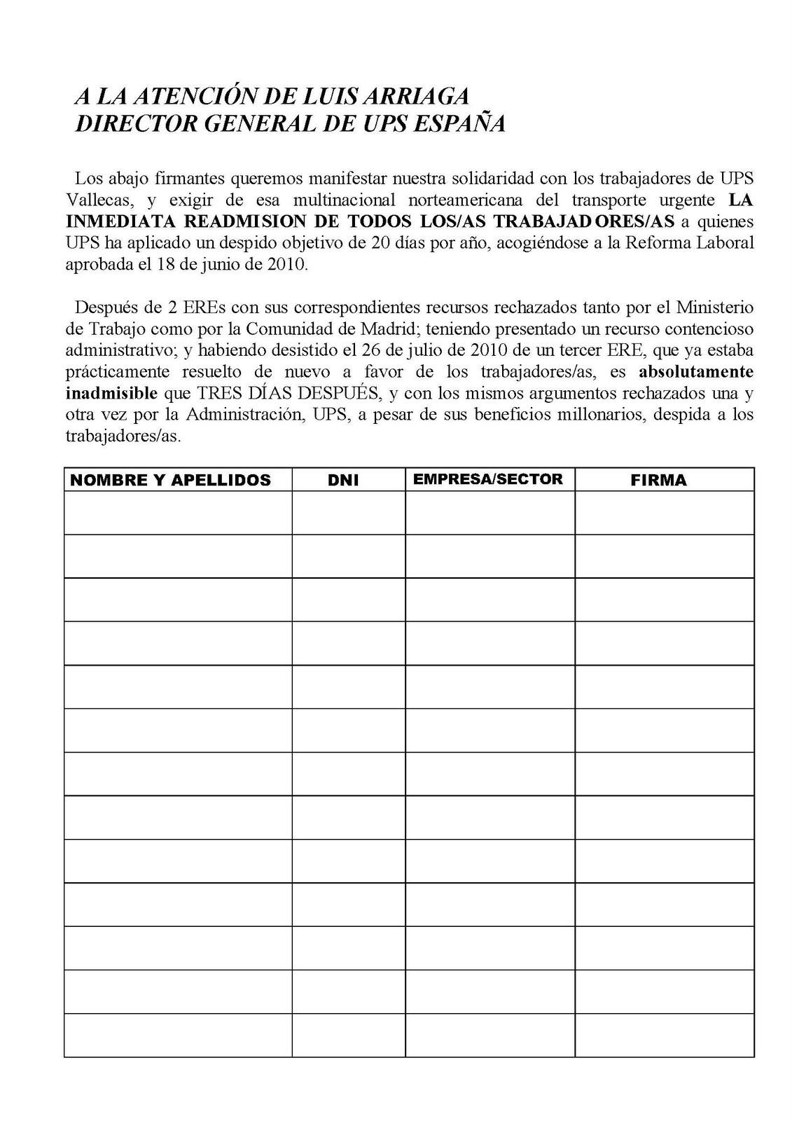 Blog De Los As Trabajadores As De Ups Vallecas 1 08 10