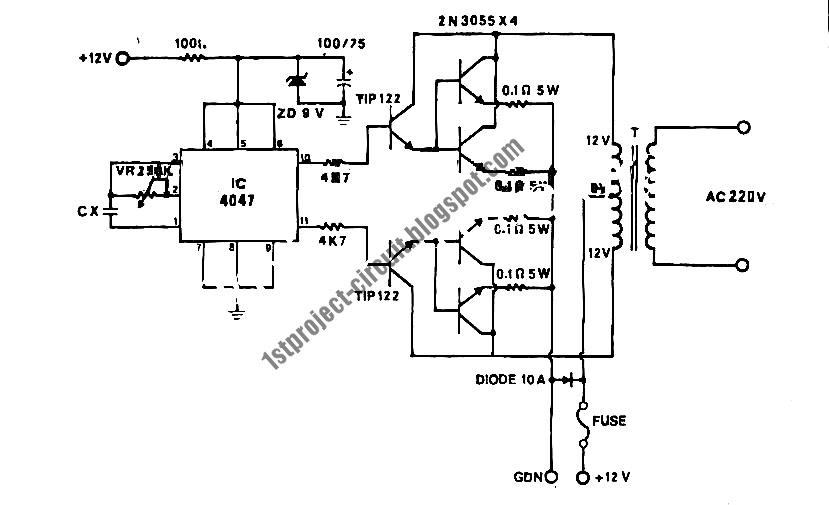 Project Circuit Design: 100Watt Inverter Circuit Using 4047 IC