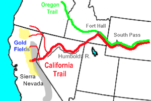 map showing california, oregon, idaho, and nevada with wagon trails shown