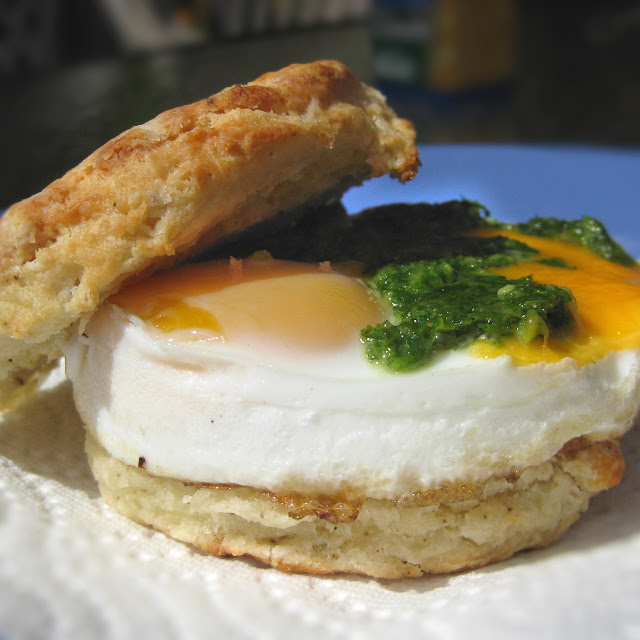 Breakfast Biscuit w/ Egg, Cheese, and Homemade Pesto