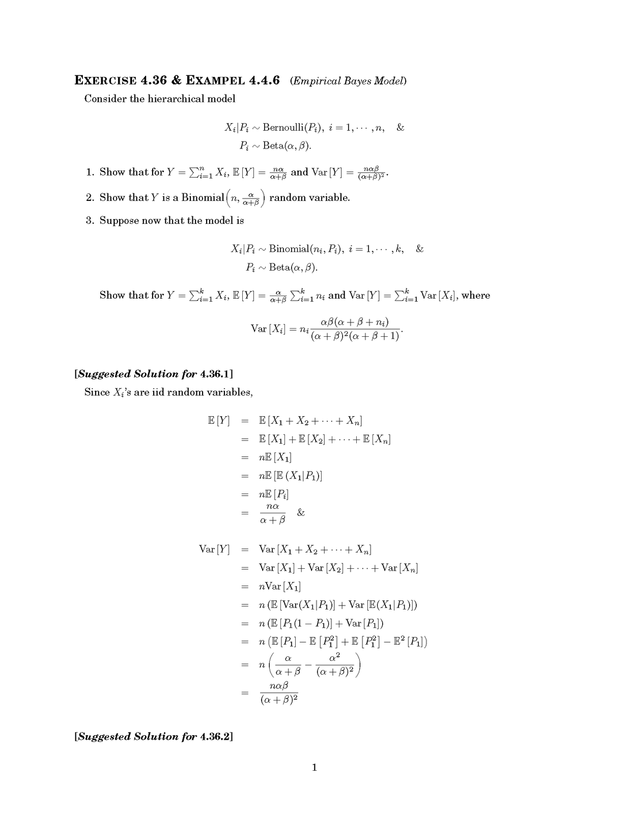 [Statistical Inference - 2nd Edition by Casella and Berger] A suggested  solution for E.4.36