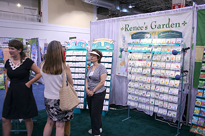 Renees Garden seed booth at Independent Garden Center Show 2009