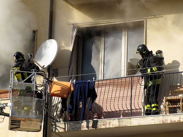 Fire in an apartment, scali del Pesce, Livorno