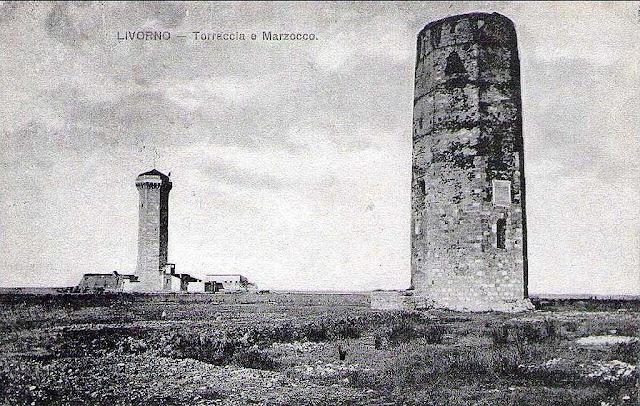 Vintage postcard, Torre del Marzocco e Torre del Magnale, Livorno,