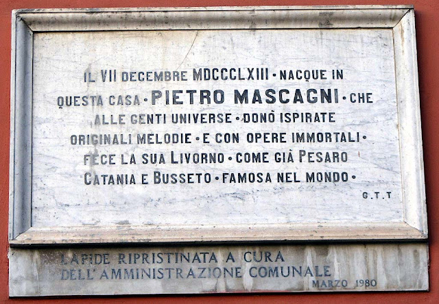 Plaque on the site of Pietro Mascagni birthplace, Livorno
