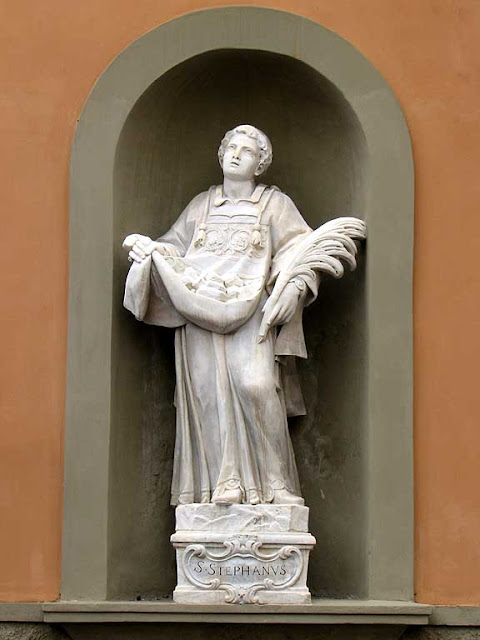 Saint Stephen statue, church of San Sebastiano, Livorno