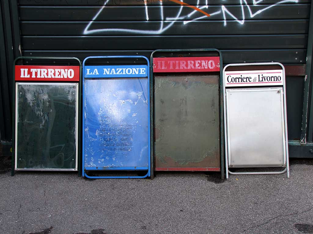 Empty newspaper billboards, Livorno
