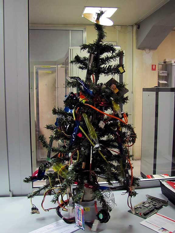 Christmas tree decorated with computer parts, Livorno