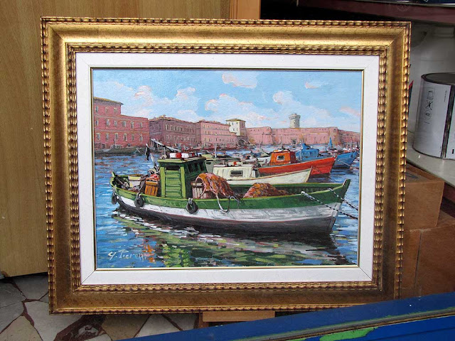 Old Harbor, Pamiglione, painting, Livorno