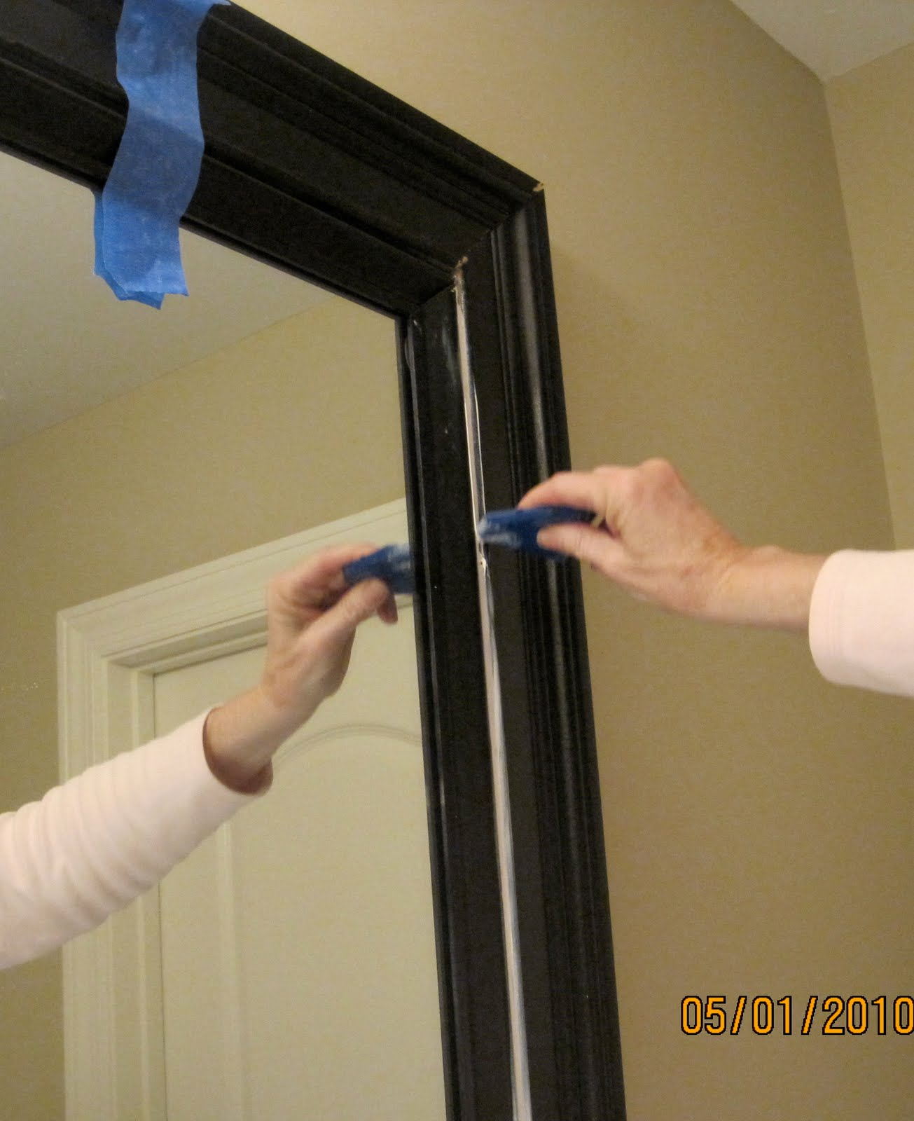 Framing A Large Bathroom Mirror Impatiently Praying For Patience Mirror Frame Tutorial
