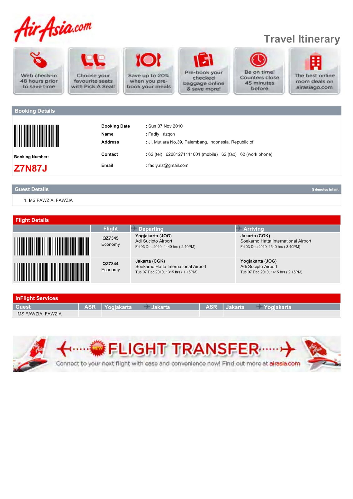 airasia elizabeth ticket