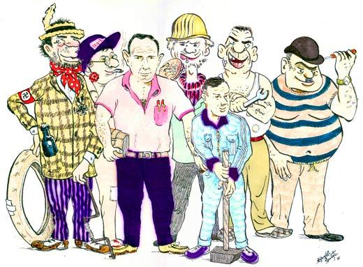 Feliz Personas Exitosas En Caricaturas: MUCHAS Personas Trabajando Caricatura