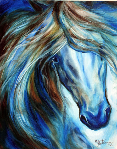 Blue Abstract Horse Paintings
