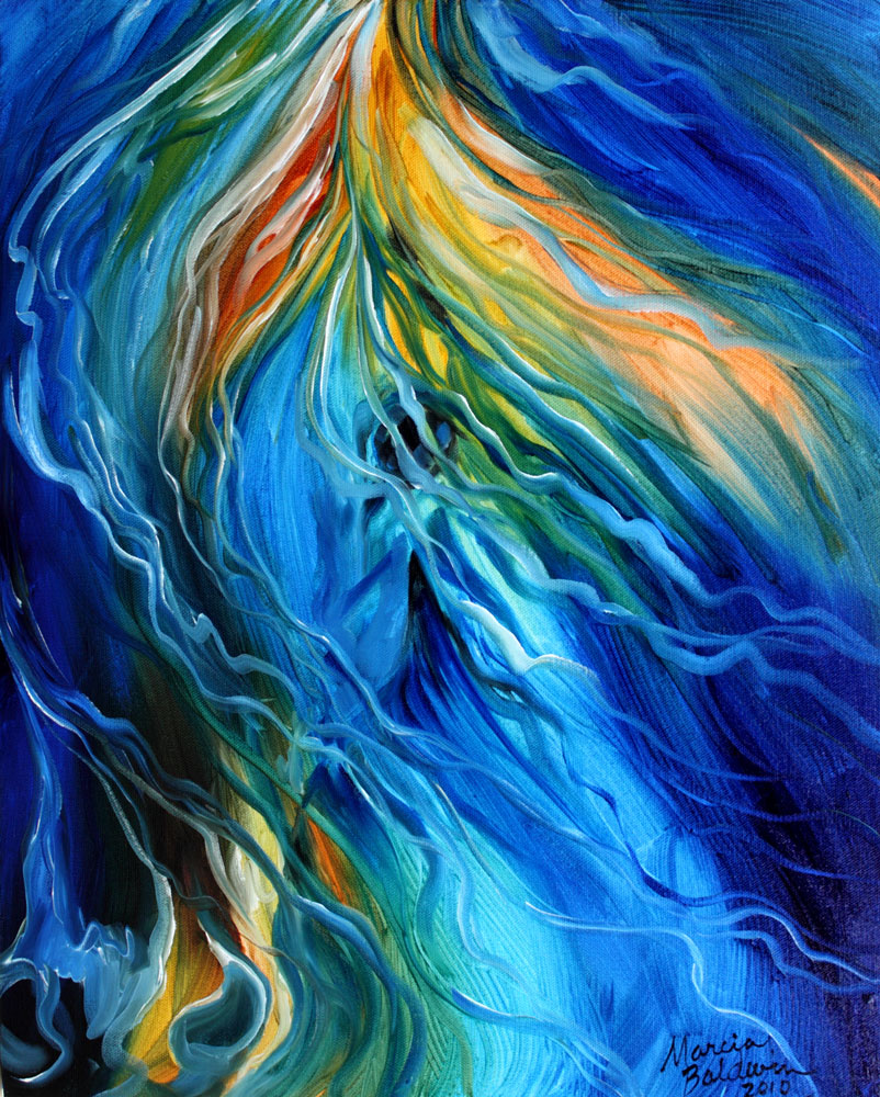 Abstract Art Gallery: EQUINE ILLUSIONAS in BLUE 20x16 ...