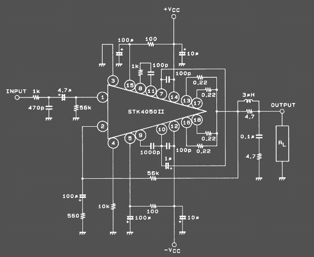 Skema 200 watt Power Amplifier STK4050 II |Koleksi Skema Rangkaian|Artikel Elektronika