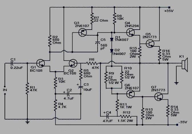 600 watt darlington power amplifier circuit koleksi skema rangkaian