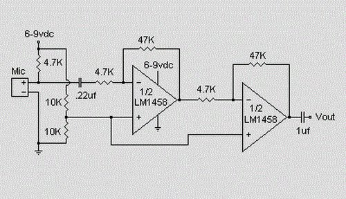 condenser microphone amplifier circuit for electret condenser