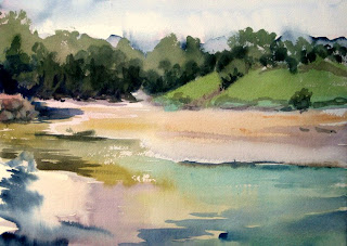 acuarela paisaje plen-air rio vllina playa poo llanes watercolor landscape river beach