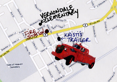 Kristi Courteau beaded fire truck pop art Vernondale Erie PA map Boston artist beadingma