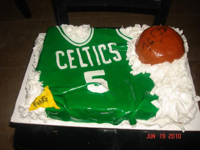 Celtics Jersey Cake W Autographed Basketball By Kevin Garnett For A Little Boys Birthday