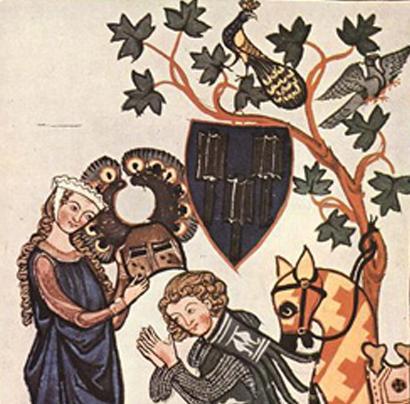 Chevalier et Dame aux oiseaux - enluminure XIVe siècle