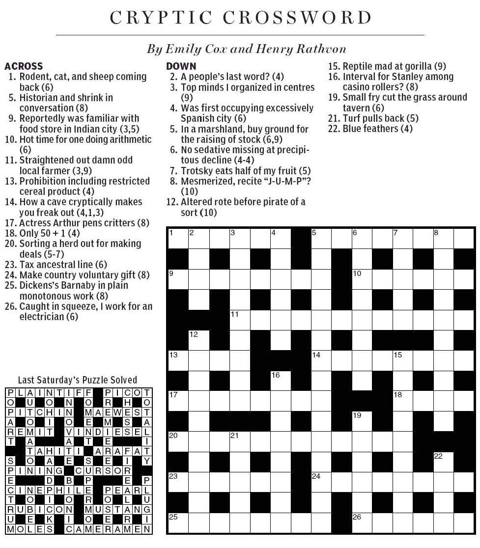 National Post Cryptic Crossword Forum September 2010