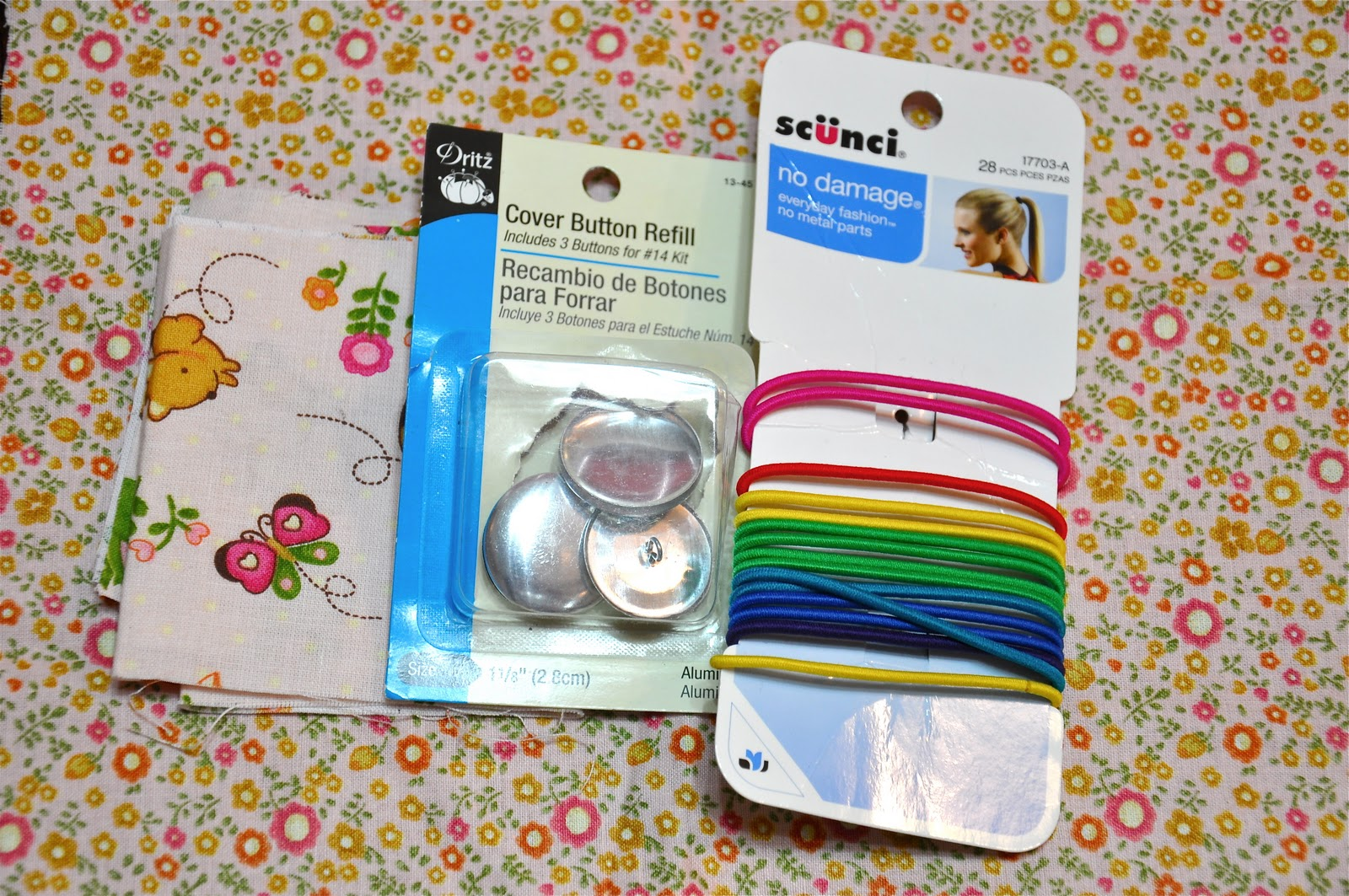 Fabric Button Hair Ties crafts