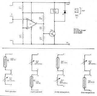 Opto-Thermo Control Relay Switch with IC 741 Circuit Opto