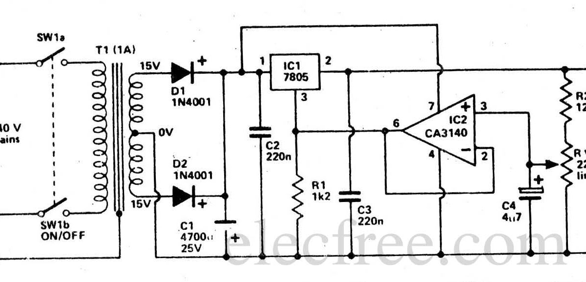 Circuit Electronics: 5-13V Power Supply with IC 7805 & CA3140