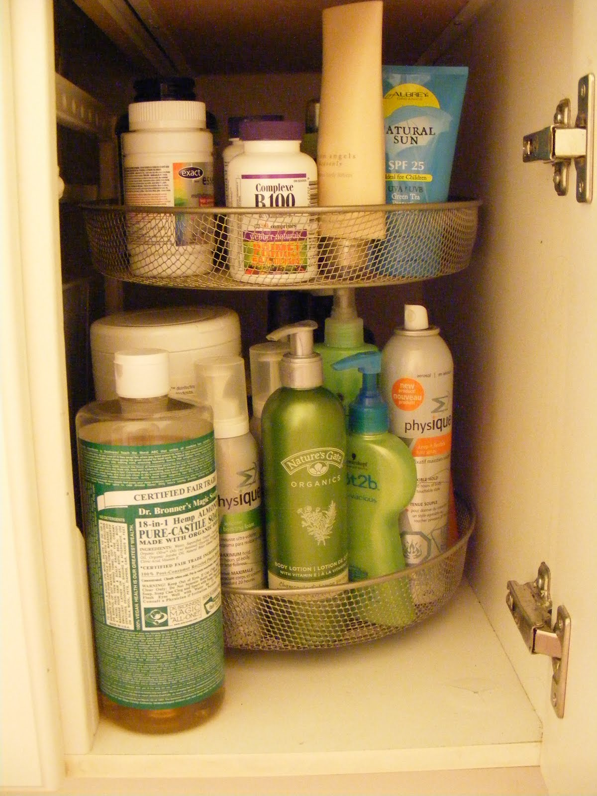 Bathroom Products Use A Lazy Susan Under The Bathroom Sink For Organizing