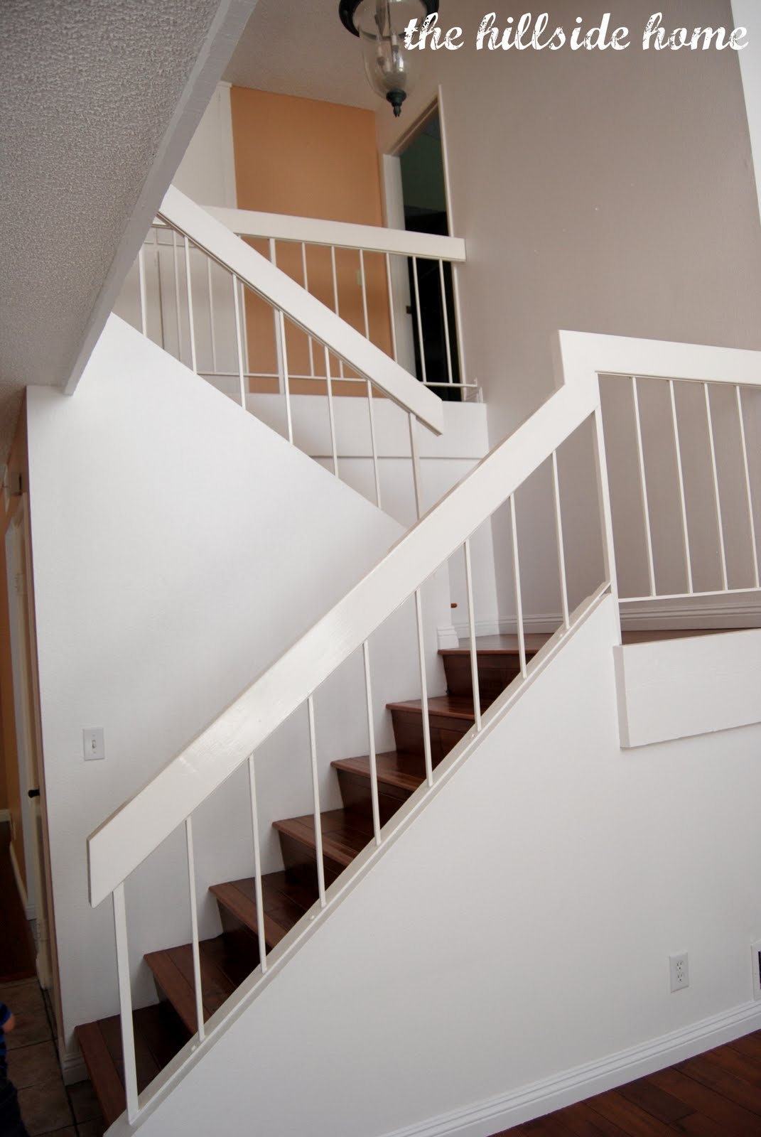 Remodelaholic Brand New Stair Banister Home Remodel   New Banister For Stairs   Stainless Steel   Traditional   Oak   Contemporary   Indoor