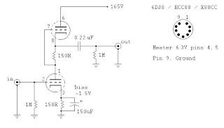 DIY Tube PreAmp & Amplifier: 6DJ8 SRPP PREAMPLIFIER SCHEMATIC